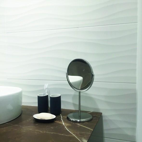 impermo carrelage blanc mural céramique effet 3D, carrelage salle de bains moderne