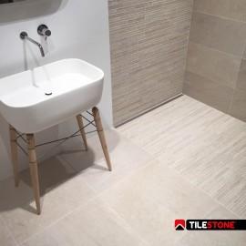 carrelage céramique sol, carrelage sol, beige, reliëf, salle de bain, pierre de France, Tilestone Riviera Cannes