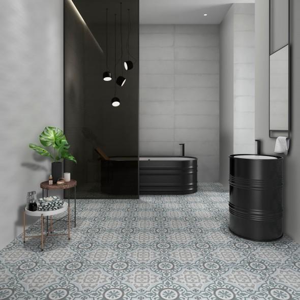keramische vloertegel, vloertegels, patroontegels, grijsgroen, impermo