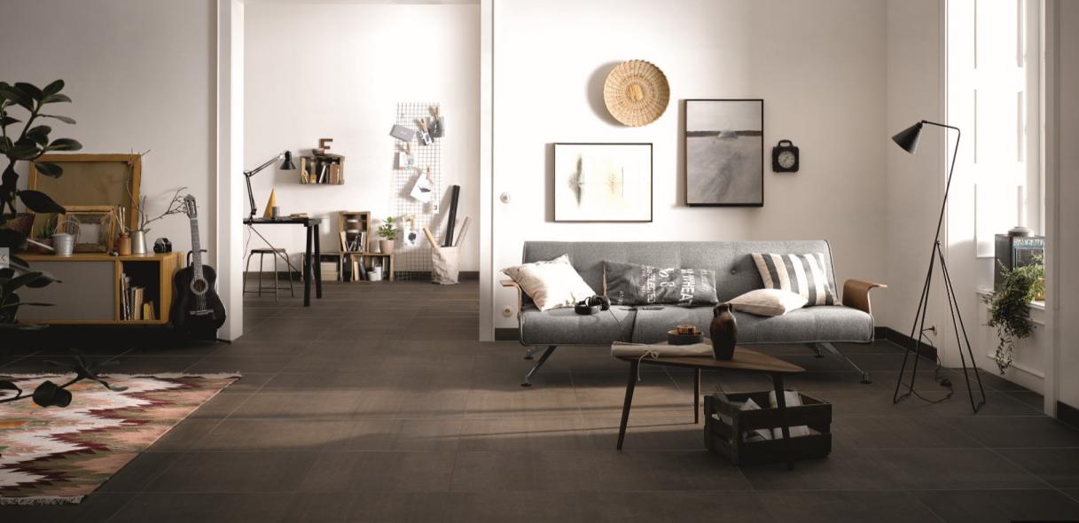 keramische vloertegel, vloertegel, bruin, imitatie beton, loft, industriële look, Grohn