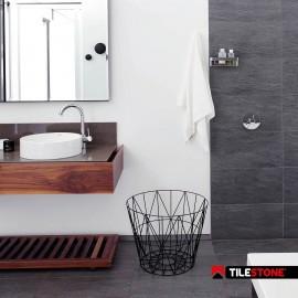 keramische vloertegel, vloertegel, antraciet, badkamertegel, antisliptegel, douchetegel, volkeramische vloertegel, Tilestone Santander Black