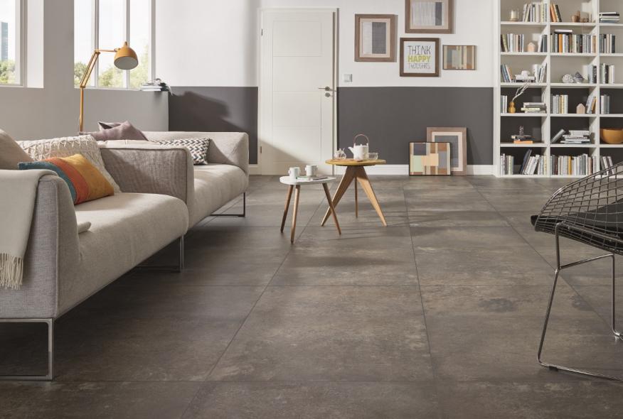 carrelage en céramique sol, carrelage sol, brun, imitation beton, imitation pierre naturelle, maison campagne, Grohn