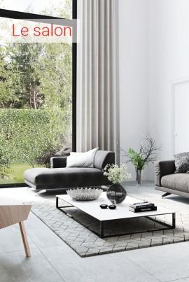 séjour, living, carrelage sol, carrelage mur, carrelage céramique, carrelage en grès cérame, intérieur moderne, lampe sur pied, labrador, intérieur campagne,
